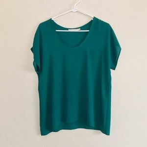 Lush Sheer Kelley Green Oversized Blouse Small